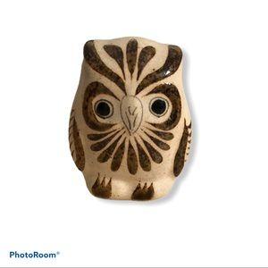 Vintage Mexican Hand Painted Tonala Owl Figurine